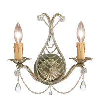 Crystorama 4712-GL-CL-MWP - Crystorama Paris Market 2 Light Gold Leaf Sconce