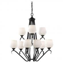 Feiss F2656/6+3BK - Nine Light Black Opal Etch Glass Up Chandelier