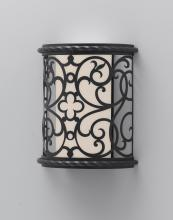 Feiss ODWB4820BK - One Light Black White Opal Etch Glass Wall Light