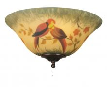 Fanimation G439 - 13 inch Glass Bowl - Hand Painted Parrot