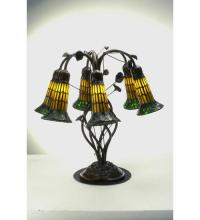 "Meyda Tiffany 102415 - 19""H Tiffany Pond Lily Amber And Green 6 Lt Table Lamp"