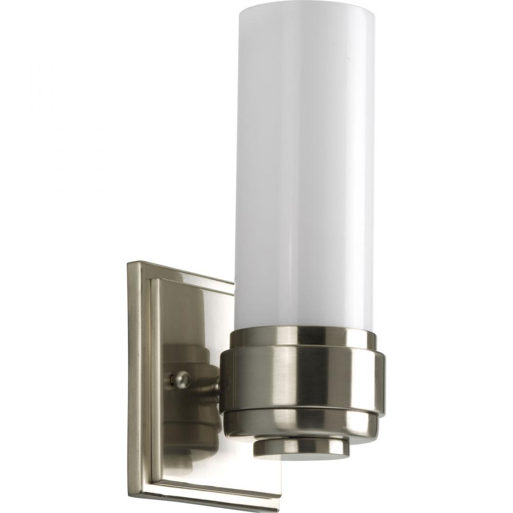 one light brushed nickel bathroom sconce : p2926-09 | schaedler